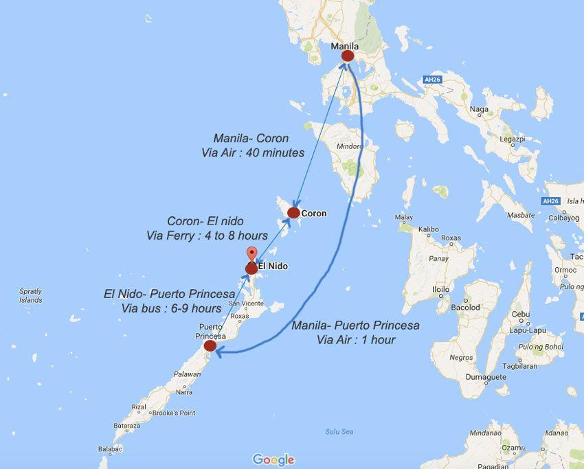 Palawan Filipiny Mapa